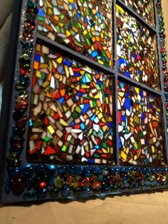 Mosaic Stained Glass Confetti Style Vintage Window.