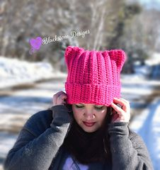 """Crocheted Kitty Cat Hatl--click on """"available for free"""" on Ravelry; PATTERN INCLUDED"""