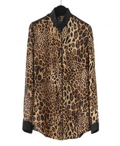 Stand Collar and Leopard Print Chiffon Blouse with Concealed Buttons
