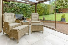 Our Bolzano White flooring creates a light and airy seating area. Garden Room Extensions, Outdoor Kitchen Patio, Backyard Pavilion, Glass Room, Outdoor Furniture Sets, Outdoor Decor, Patio Design, White Flooring, Images Photos