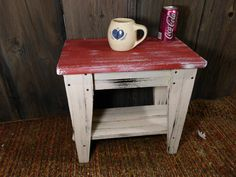 Aged Barn Red Primitive Side Table with Shelf Farm House Style Rustic Decor | eBay