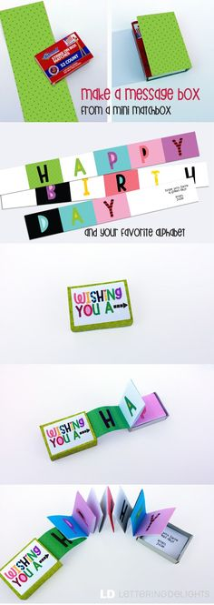 paper craft LD Solutions: Make a Message Box from a Matchbox Birthday Gifts For Sister, Diy Birthday, Birthday Cards, Happy Birthday, Birthday Book, Birthday Messages, Cute Crafts, Diy And Crafts, Crafts For Kids