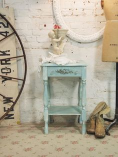 Painted Cottage Chic Shabby Aqua Romantic French Night Table NT26. $110.00, via Etsy.