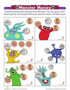 Kindergarten Money Addition Worksheets: Monster Money Worksheet