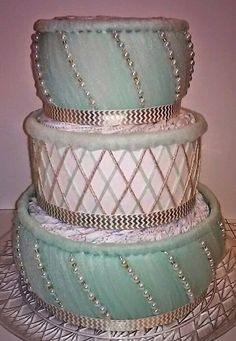 Gold White Mint Green Diaper Cake Themed by ReadyMadeDiaperCakes