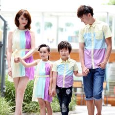Fashion Family Set Chiffon Dress for Mother and Daughter Family Clothing Sets Shirts Clothes for Father and Son Girls Dress WL69