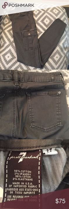FINAL PRICE Army green 7 for all mankind pants Trendy 7 for all mankind pants - worn three times at most. Trendy distressed look! Hot item - priced to sell but will consider reasonable offers 7 For All Mankind Pants Skinny