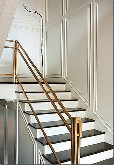 Brass stair railing, black and white stairs Stair Handrail, Staircase Railings, Banisters, Stairways, Staircase Molding, White Staircase, Iron Balusters, Escalier Art, Escalier Design