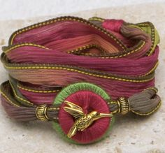Monet's Garden complete with hummingbird! https://www.etsy.com/listing/166602764/silk-ribbon-whirly-wrap-bracelet-in-sage?ref=shop_home_active