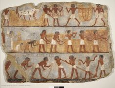 Paintings from the tomb of Unsu New Kingdom, 18th Dynasty, reign of Hatshepsut or Thutmosis III (1479-1425 BC). Egypt, necropolis of Thebes. This fragment forms part of a group of mural paintings that decorated the chapel in the tomb of the scribe Unsu, grain accountant in the temple of the god Amun.