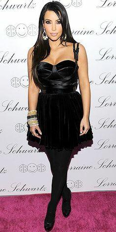 Kim Kardashian wearing Fendi Platform Mary-Janes Versus Fall 2010 RTW Satin and Velvet Bustier Dress. Kim Kardashian attends the launch of Lorraine Schwartz's 2BHAPPY jewelry collection at Lavo NYC November 22 2010.