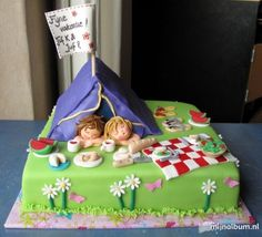 camping cake...WOW! Probably won't go this far on Bryson's cake