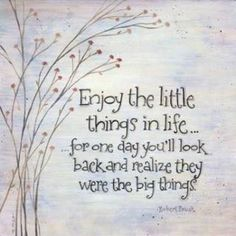 Enjoy the little things in life... for one day you'll look back and realize they were the big things
