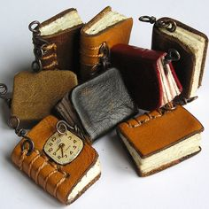 Miniatures. Tiny leather journal books