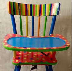 Dots and Strips High Chair, Custom Kids Furniture by CreateJoyByJudy on Etsy https://www.etsy.com/listing/452621886/dots-and-strips-high-chair-custom-kids