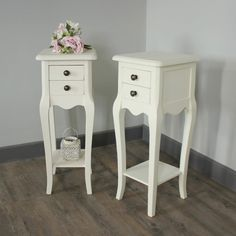 Pair Of Belgravia Range - Furniture Bundle Slim Cream 2 Drawer Bedside Tables Adorable wooden bedside with two drawers and a shelf Each Drawer has a round brass knob Comes with a handy shelf at the bottom Made from a hard wood with a cream hand pain Grey Furniture, Colorful Furniture, Bedroom Furniture, Bedroom Decor, Bedroom Inspo, Bedroom Inspiration, Home Furnishing Accessories, Home Accessories, Home Decor