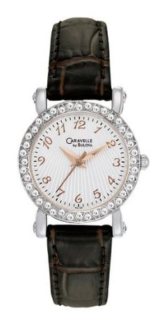 Caravelle by Bulova Women's 43L126 Full 44 Crystal Bezel Watch Caravelle by Bulova. $57.97. Silver and white patterned dial. Mineral crystal. Leather strap. Quartz movement. Water-resistant to 99 feet (30 M)