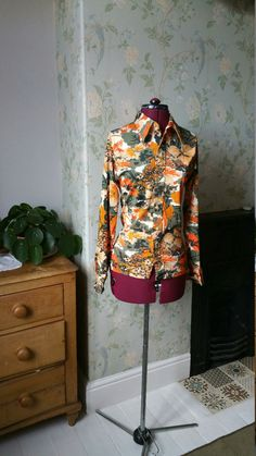 Excited to share the latest addition to my #etsy shop: Vintage 1970s bohemian shirt blouse orange khaki green disco tops floral shirts 70s clothing boho hippie womens clothes Dolly Topsy Etsy UK http://etsy.me/2mt6UCC