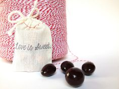 Chocolate Covered Espresso Beans. Love is sweet. Valentines Day Party Favor.