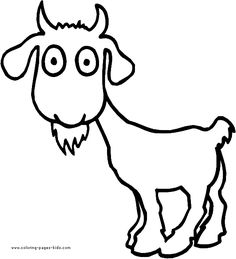 Surpised Goat color page. Animal coloring pages. Coloring pages for kids. Thousands of free printable coloring pages for kids! Fox Coloring Page, Shape Coloring Pages, Farm Animal Coloring Pages, Spring Coloring Pages, Easter Coloring Pages, Coloring Book Pages, Coloring Pages For Kids, Goat Art, Free Printable Coloring Pages