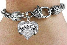 Dance Bracelet - Silver Bracelet w Austrian Crystal Silver Charm & Lobster Clasp