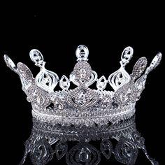 Fashion silver plated rhinestone round tiara crown