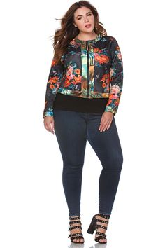 3544ca3fd0f Danielle Plus Size Floral Scuba Jacket for Women