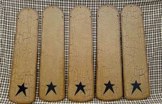 PRIMITIVE CRACKLE CEILING FAN BLADES BLACK STAR COUNTRY FARMHOUSE DECOR