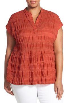 Caslon® Crinkle Jacquard Top (Plus Size)