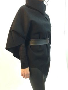 Black Poncho Jacket Winter Wool Women Cape Coat by MDSewingAtelier, $45.90