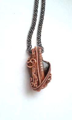 Tiger's Eye Necklace Wire Wrapped Copper by DragonflyHJewellery