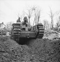 Churchill AVRE with Spigot mortar in Kleve, Germany, 12 February Churchill, Bernard Montgomery, General Motors, Tank Warfare, Battle Of Normandy, Military Pictures, Ww2 Pictures, Ww2 Photos, Royal Engineers
