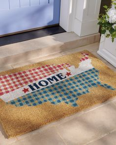 Welcome guests Memorial Day, Independence Day, and all summer long with this patriotic, durable Gingham Home Coir Door Mat. It's handmade from 100% coir, an all-natural material known for its scrubbing power and resistance to the elements. Dyes saturate the fibers for vibrant color and resist fading over time. Patriotic Bunting, Patriotic Decorations, Pillow Wedding Cakes, Wooden Trough, Old Fashioned Drink, Halloween Headband, Welcome Door Mats, Grandin Road, Halloween Spider