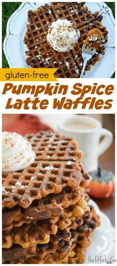 Gluten Free Pumpkin Spice Latte Waffles perk up fall breakfast and brunch -- perfect for Thanksgiving and holiday entertaining. OR, meal prep a couple batches, stick in freezer and reheat on weekday mornings.