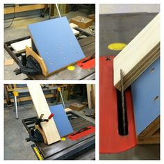 "A tablesaw jig for quick & easy 45 degree cuts.  I'm a big fan of re-using stuff. I built this entirely from the pre-renovation kitchen counter in our last house.  I tend to hang onto wood.  You just never know when it will come in handy.  Whoops, forgot to put the ""dark walnut"" stain on...."