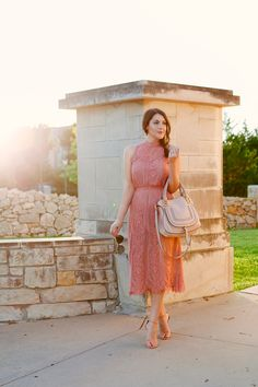 Rose Colored Lace Dress on Kendi Everyday.