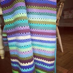 Day 12: Finally Finished - this is a blanket I finished last night!! It's an order for a little girl in custom colours using Stylecraft Special DK Yarn. Pattern from @attic24 Cosy Stripe Blanket.  #ldjcrochethookup #crochet #crochetlove #crochetersofinstagram #crochetblanket #stripes #attic24cosystripeblanket by rhubarbandpie