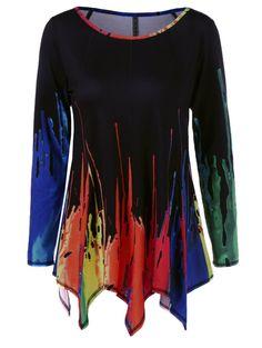 Splatter Paint Handkerchief T-Shirt in Colormix | Sammydress.com