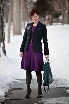 Already Pretty outfit featuring navy blue blazer, purple ponte dress