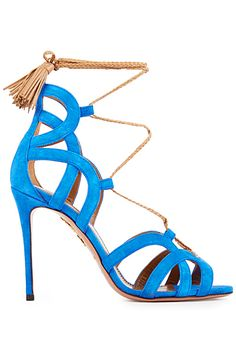 Aquazzura ~ Ocean Blue Leather Spring Sandal w Gold Tassel Embellishment 2015