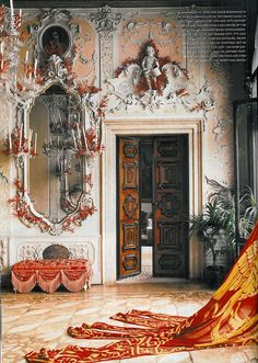 Palazzo Brandoloni..The red and gold flag of Venice blown through the window