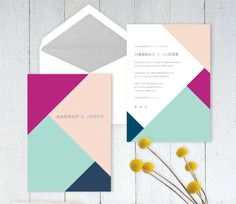 Fresh, Fun, Eclectic and Modern Wedding or Birthday Invitation with Silver…