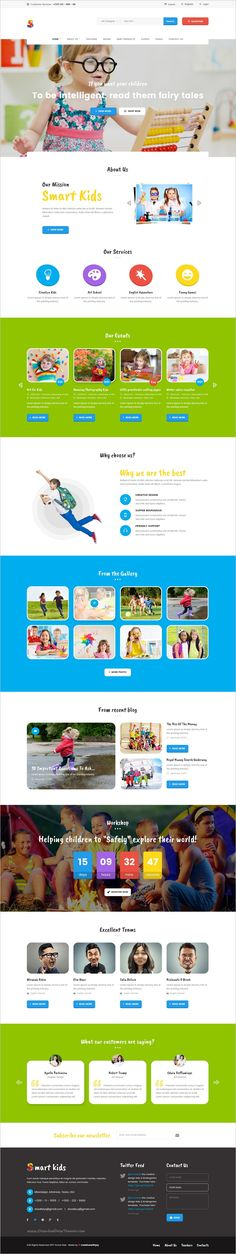 Smart kids is a clean and unique design #PSD template for #childcare, day care center, #preschool, #kindergarten, children art & craft school websites download now➩ https://themeforest.net/item/smart-kids-multipopurse-creative-kids-kindergarten-psd-template/19254329?ref=Datasata