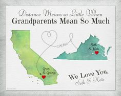 Birthday Gift for Grandma, Long Distance Map Print, Christmas Gift for Grandparents, Distance Means So Little Quote, Gift Print for Memere by KeepsakeMaps on Etsy