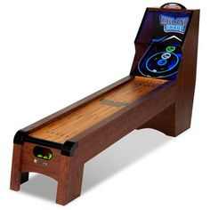 Ready AIM and Throw! Have Loeads of Fun 9 Ft. Roll and Score Table, Arcade Game, Includes 4 Skee-Ball, Electronic Board Scorer Great Sound Effects LED Light - Perfect for Family, Game Nights Man Cave Garage, Garage Game Rooms, Game Room Basement, Man Cave Basement, Garage Bar, Basement Sports Bar, Kids Basement, Basement Laundry, Basement Apartment