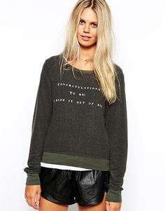 Enlarge Wildfox Baggy Beach Sweatshirt With Congratulations Bed Print