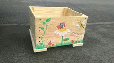 Toybox on wheels and personalised with painting. Follow Pallet Creations UK on Facebook, Pinterest or Instagram.
