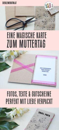 Eine wunderschöne Karte zum Muttertag selber basteln: Wie durch Zauberhand wandert der Inhalt von einer Seite auf die andere und die Karte lässt sich beliebig gestalten! Schritt-für-Schritt-Anleitung für eine magische Muttertagskarte. Schenk ein Foto, ein Gedicht oder einen Gutschein und verpack ihn wunderschön und mit Liebe! #diy #anleitung #muttertag