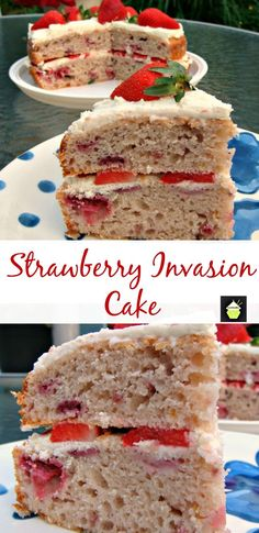 Strawberry Invasion Cake - This cake is light, fluffy and BURSTING with strawberry flavor! Made from scratch and using fresh ingredients. Yummy! #strawberry #cake #baking #yogurt