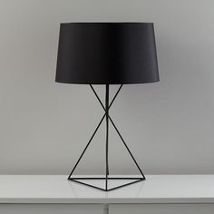 The Land of Nod | Kids Lighting: Black Steel Wire Table Lamp in All New